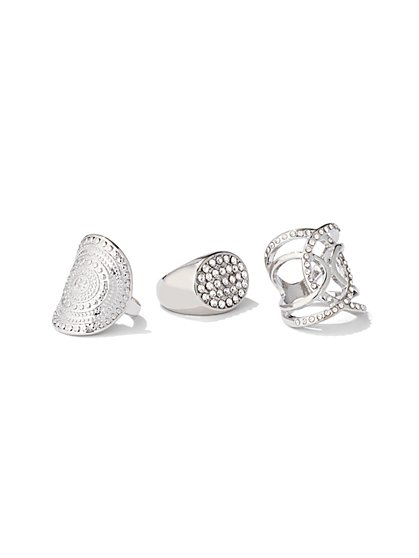 3-Piece Silvertone Ring Set - New York & Company