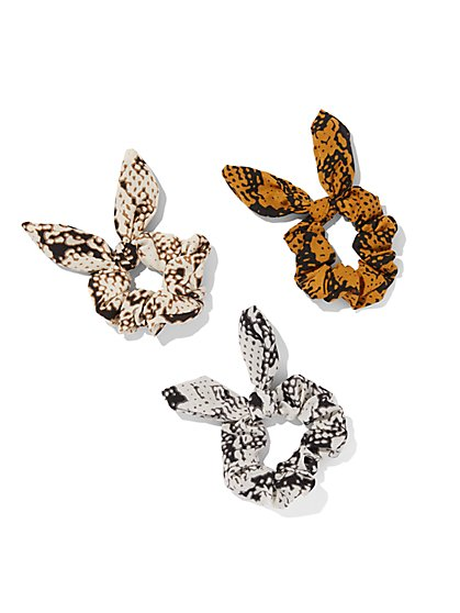 3-Piece Snake-Print Bow Scrunchie Set - New York & Company