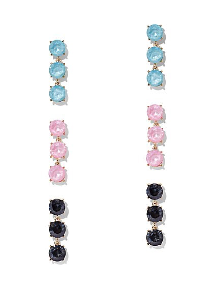 3-Piece Sparkling Drop Earring Set - New York & Company