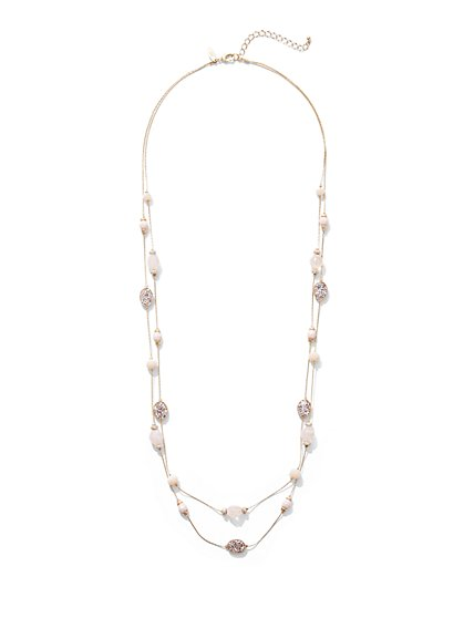 3-Row Beaded Illusion Necklace - New York & Company