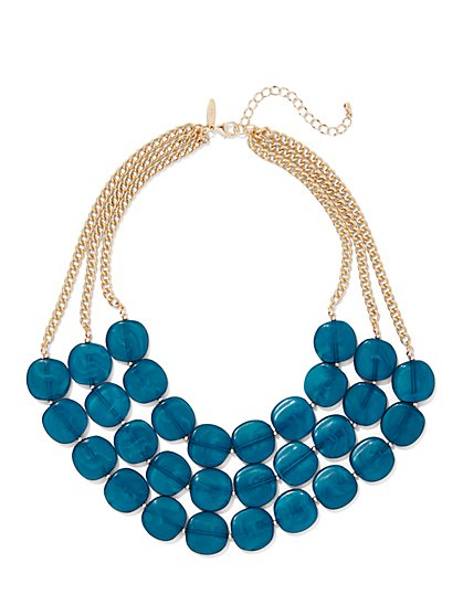 3-Row Beaded Statement Necklace - New York & Company
