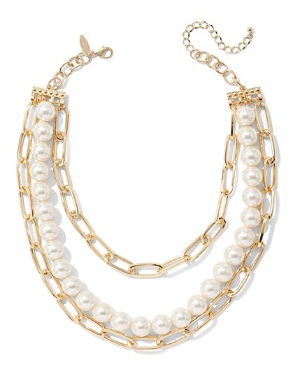 3-Row Chain-Link & Faux-Pearl Necklace - New York & Company