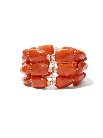 3-Row Faux-Coral Stretch Bracelet - New York & Company