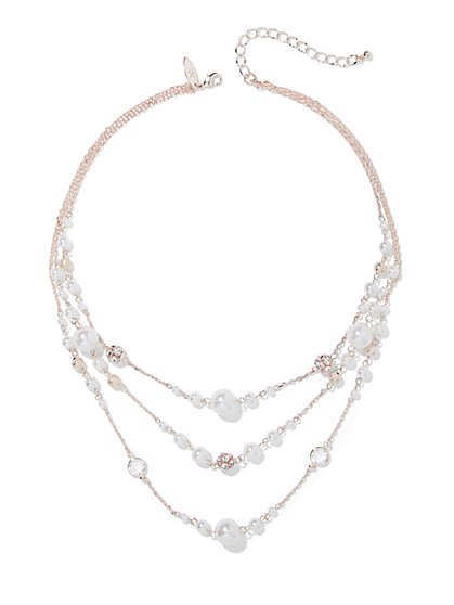 3-Row Faux-Pearl Illusion Necklace - New York & Company