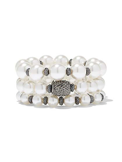3-Row Faux-Pearl Stretch Bracelet - New York & Company