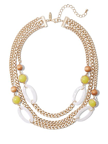 3-Row Goldtone Beaded Link Necklace - New York & Company
