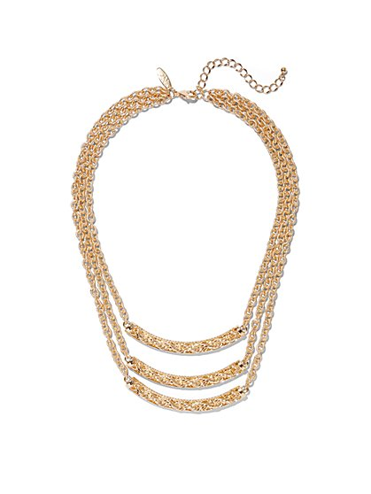 3-Row Goldtone Chain-Link Necklace - New York & Company