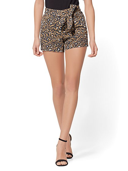 4 Inch Self-Tie High-Waisted Short - Leopard Print - New York & Company