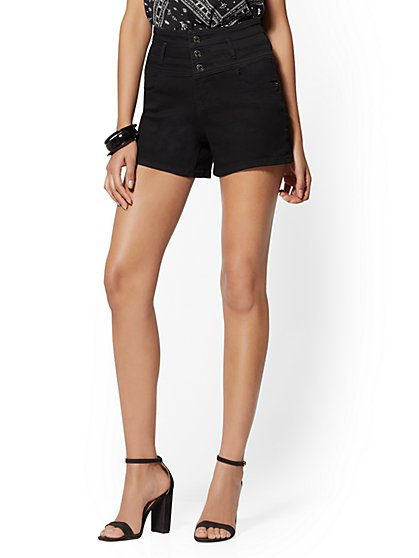 4 Inch Three-Button High-Waisted Short - Black - New York & Company