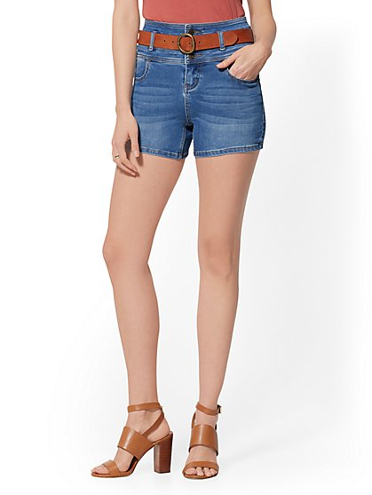 4 Inch Three-Button High-Waisted Short - Blue Honey - New York & Company