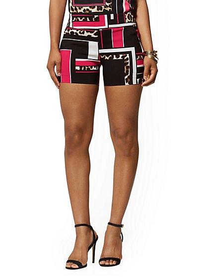 de2ef7aeb3 NY Deal. 4 Inch Whitney High-Waist Pull-On Short - Leopard & Linear Print  ...