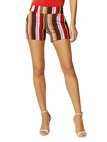 4 Inch Whitney High-Waisted Pull-On Short - Multicolor Stripe - New York & Company