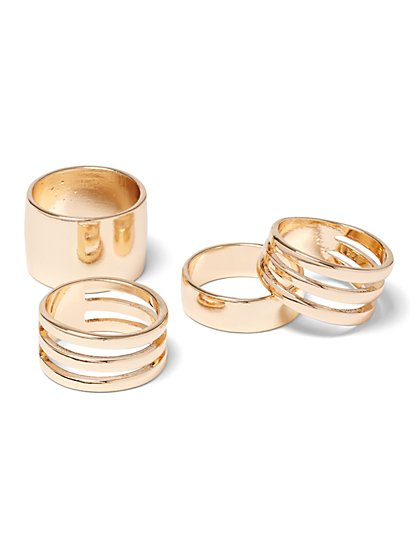 4-Piece Goldtone Ring Set - New York & Company