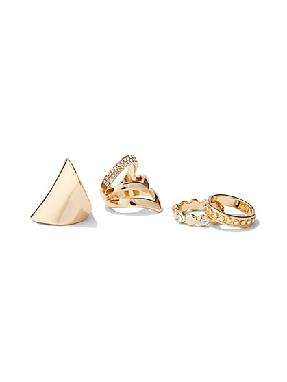4-Piece Pave Goldtone Ring Set - New York & Company