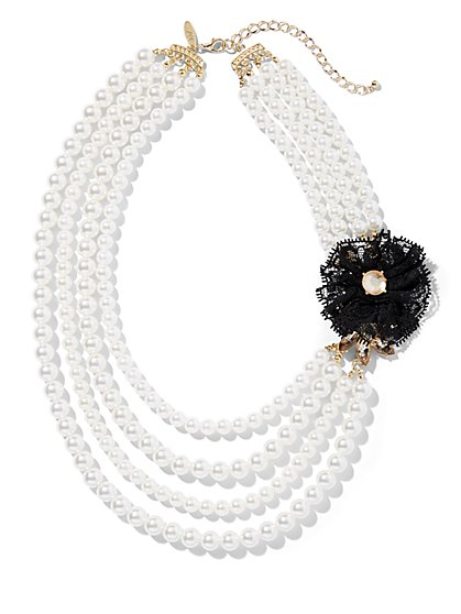 4-Row Faux-Pearl Floral Accent Necklace - New York & Company