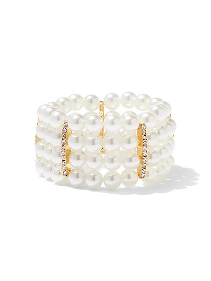 4-Row Faux-Pearl Stretch Bracelet - New York & Company