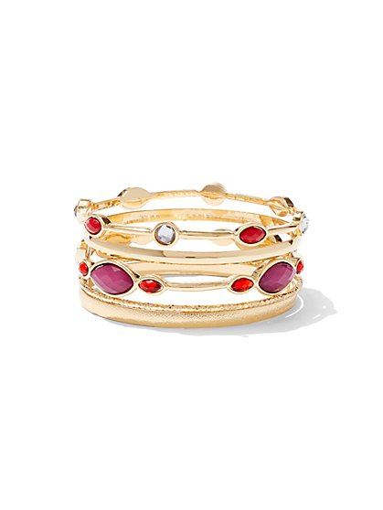 5-Piece Goldtone Bangle Bracelet Set - New York & Company