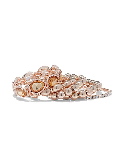 5-Piece Rose Goldtone Stretch Bracelet Set - New York & Company