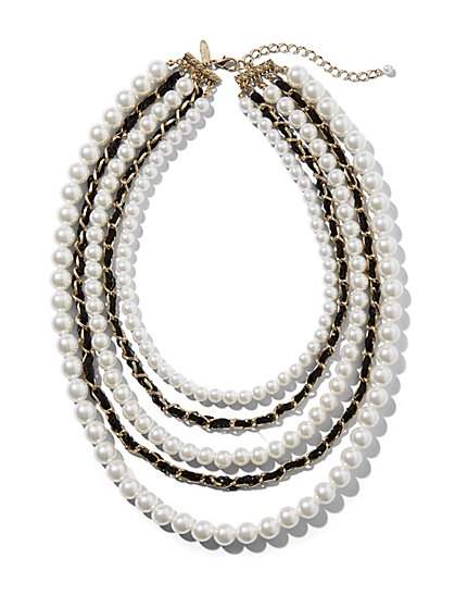 5-Row Faux-Pearl & Chain Necklace - New York & Company