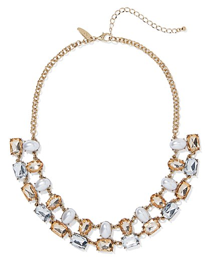 5-Row Goldtone Faux-Pearl Statement Necklace - New York & Company