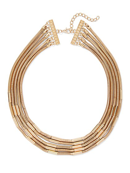5-Row Goldtone Statement Necklace - New York & Company