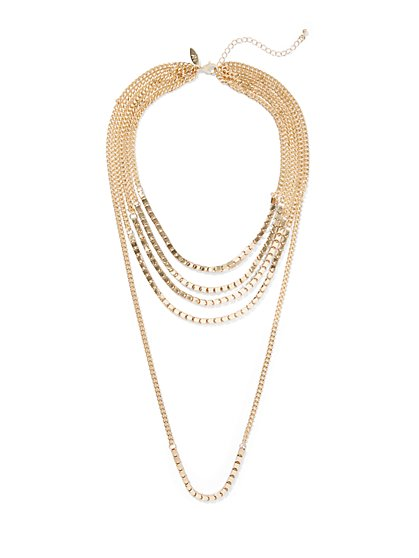 5-Row Layered Goldtone Necklace - New York & Company
