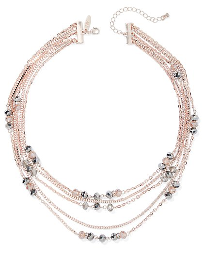5-Row Rose Goldtone Layered Necklace - New York & Company