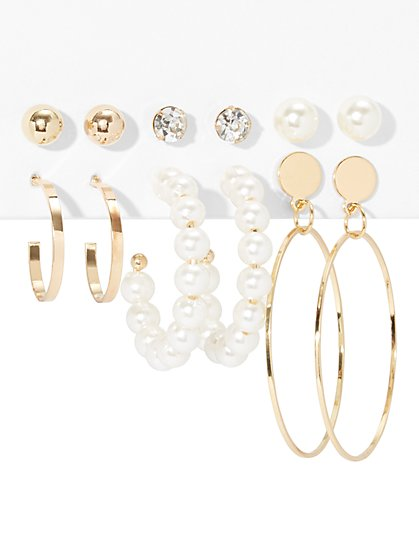 6-Piece Faux-Pearl Earring Set - New York & Company