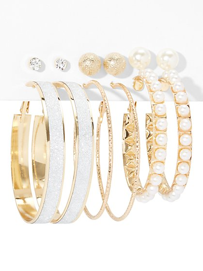 6-Piece Faux-Pearl Hoop Earring Set - New York & Company
