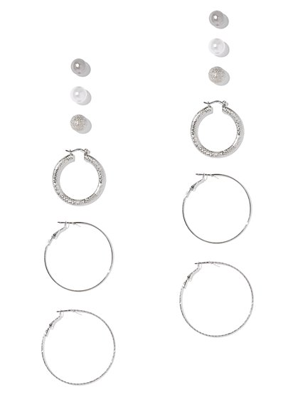 6-Piece Faux-Pearl Post & Hoop Earring Set - New York & Company