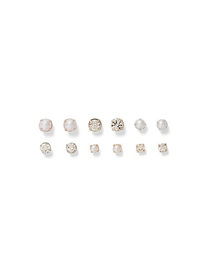 6-Piece Faux Stone & Faux Pearl Earring Set - New York & Company