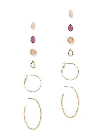 6-Piece Faux-Stone Post & Hoop Earring Set - New York & Company