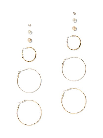6-Piece Goldtone Hoop & Post Earring Set - New York & Company