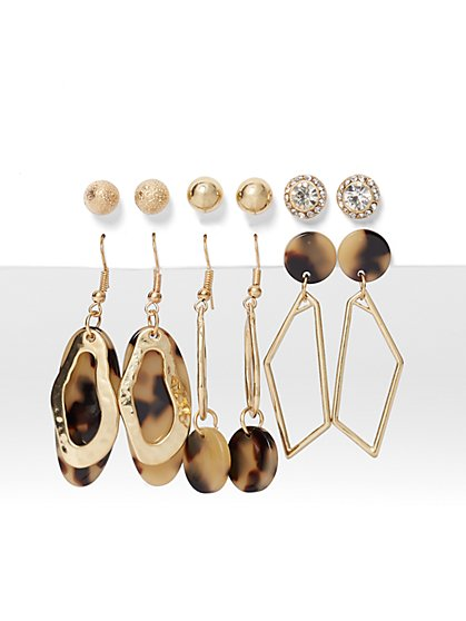 6-Piece Goldtone Post & Drop Earring Set - New York & Company