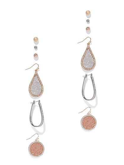 6-Piece Pave Drop & Post Earring Set - New York & Company