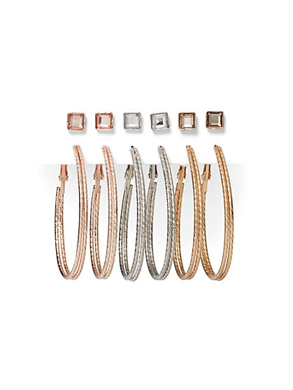 6-Piece Post & Oval Hoop Earring Set - New York & Company