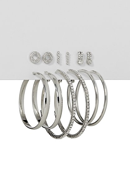 6-Piece Silvertone Post & Hoop Earring Set - New York & Company