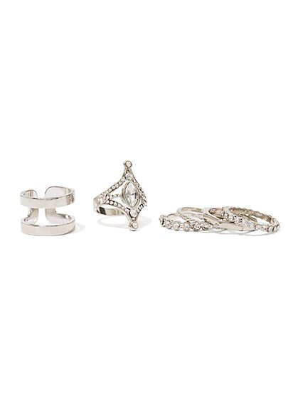 6-Piece Sparkling Silvertone Ring Set - New York & Company
