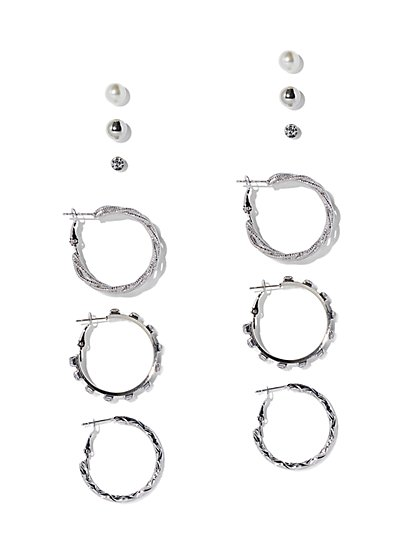6-Piece Textured Hoop & Post Earring Set - New York & Company