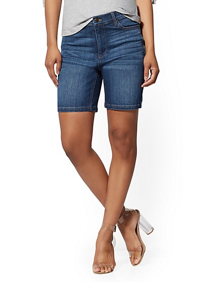 7 Inch High Waist Short - Deep End Blue - Soho Jeans - New York & Company