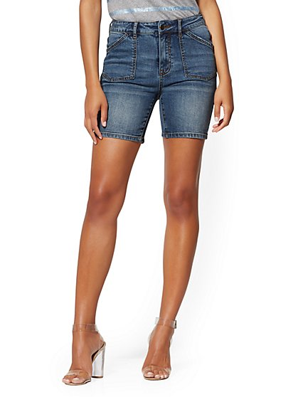 7 Inch High-Waisted Short - Medium Blue Wash - New York & Company
