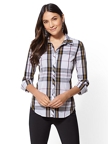 7th Avenue - 3/4-Sleeve Madison Stretch Shirt - New York & Company