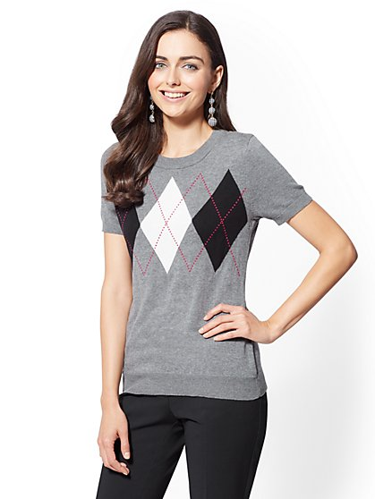 7th Avenue - Argyle Short Sleeve Sweater - New York & Company
