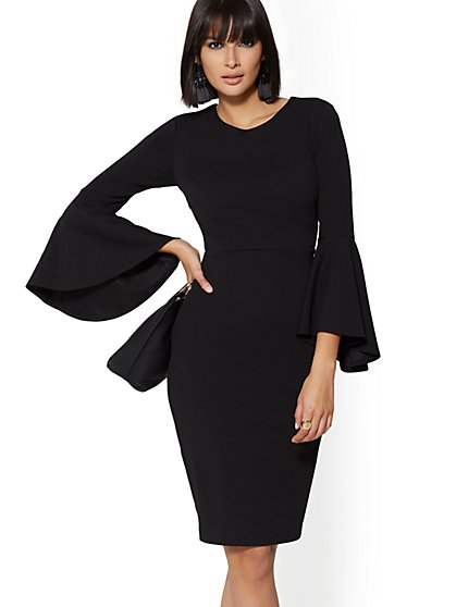 7th Avenue - Bell-Sleeve Sheath Dress - Magic Crepe - New York & Company