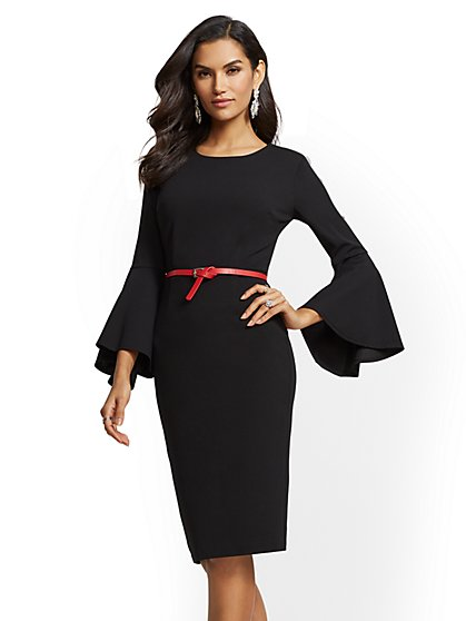 7th Avenue - Bell-Sleeve Sheath Dress - New York & Company