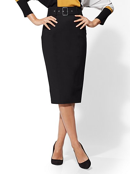 7th Avenue - Belted Pencil Skirt - All-Season Stretch - New York & Company