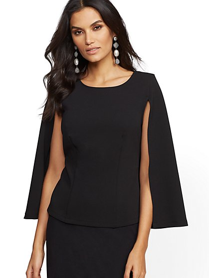 7th Avenue - Black Cape Top - New York & Company