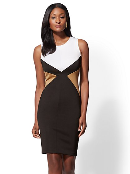 7th Avenue - Black Colorblock Sheath Dress - New York & Company