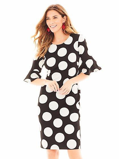 7th Avenue - Black Dot-Print Sheath Dress - Magic Crepe - New York & Company