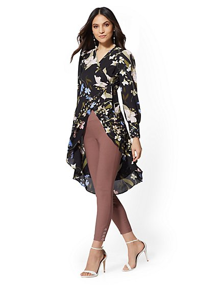 7th Avenue - Black Floral Hi-Lo Wrap Blouse - New York & Company